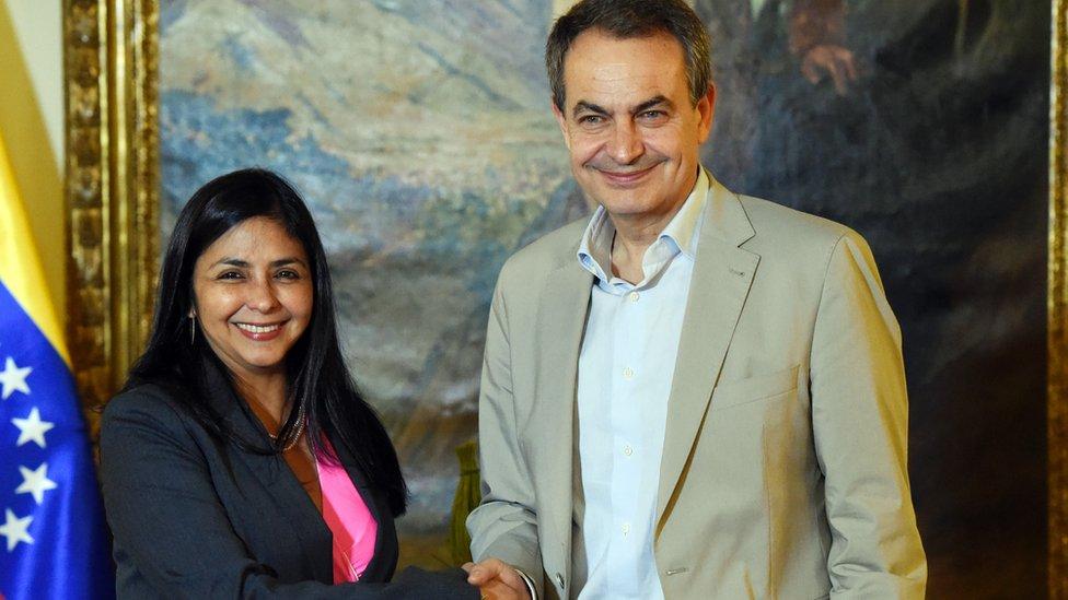 Delcy Rodríguez y José Luis Rodríguez Zapatero