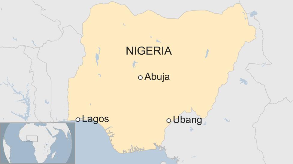 Map of Nigeria showing Ubang