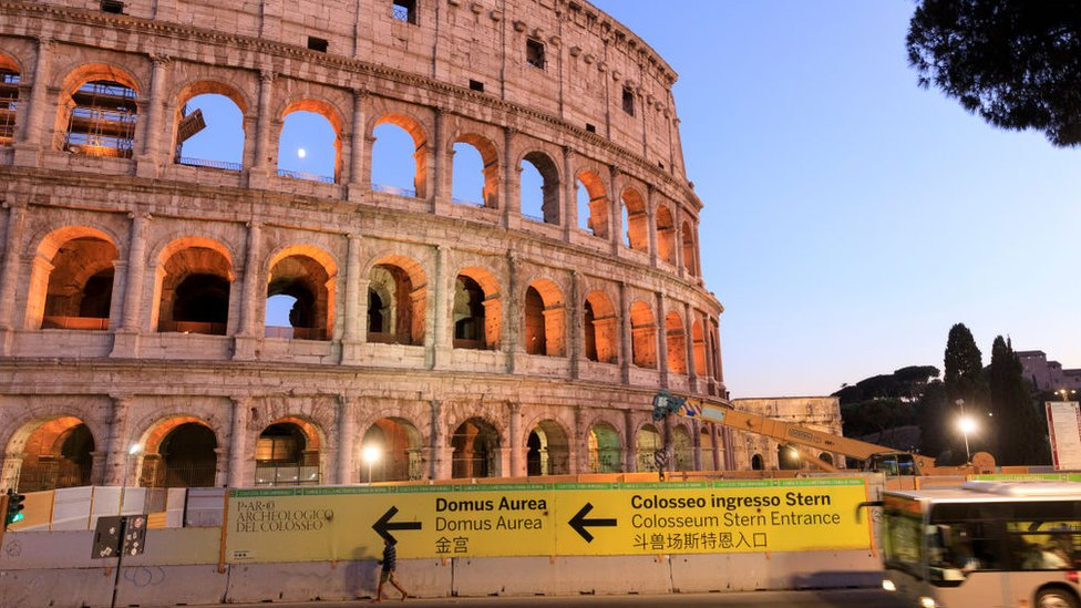 Image shows the Colosseum in Rome