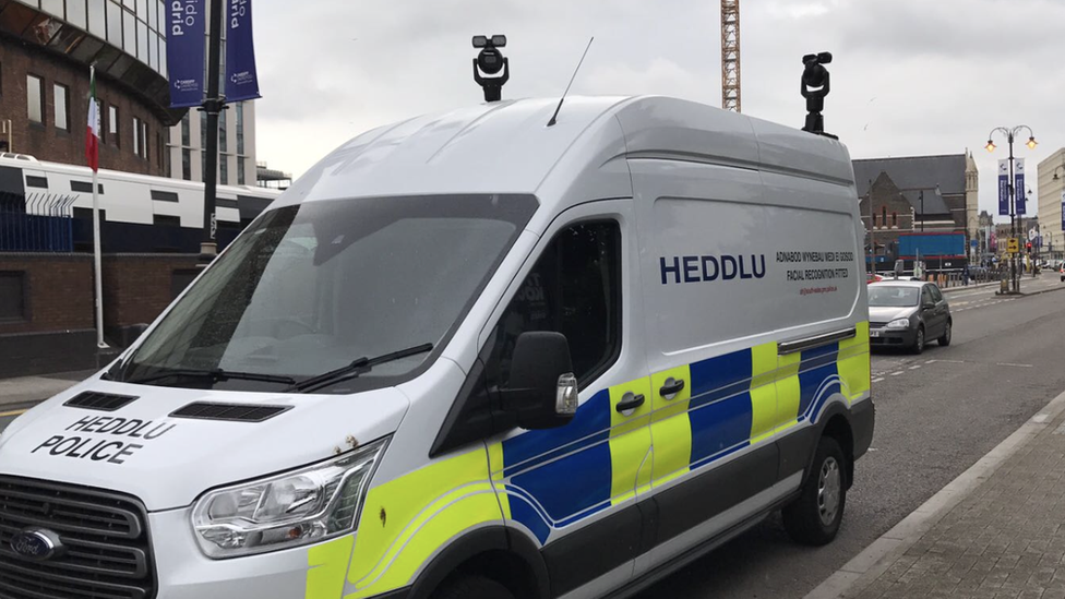 Police automatic face recognition unit in operation around Cardiff city centre