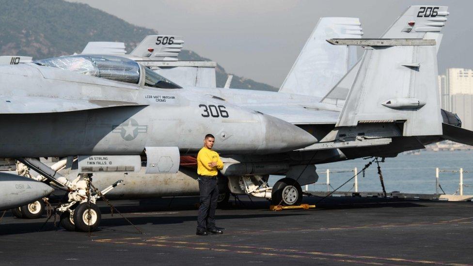 An F/A 18E Super Hornet on the USS Ronald Reagan