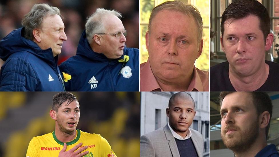 De izquierda a derecha, de arriba hacia abajo: Neil Warnock con su asistente Kevin Blackwell; Willie y Mark McKay, Callum, Emiliano Sala, Meissa N'Diaye y Davies.