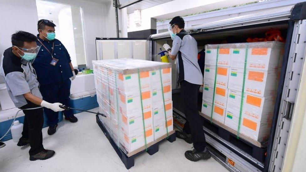 Lote da CoronaVac é inspecionado ao chegar à Indonésia