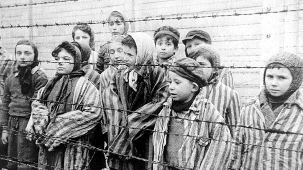 Child survivors of Auschwitz, early 1945