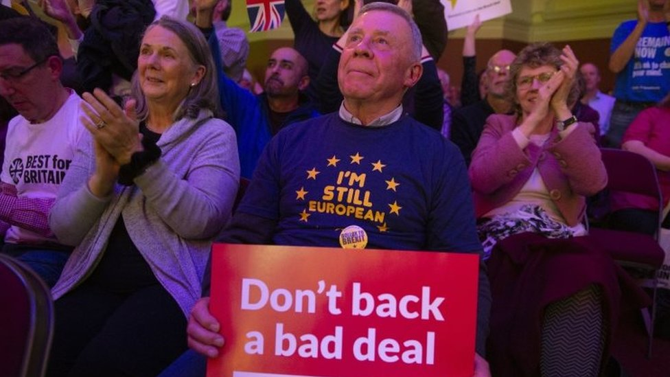 Supporters cheer during a People's Vote rally in London. Photo: 13 November 2018
