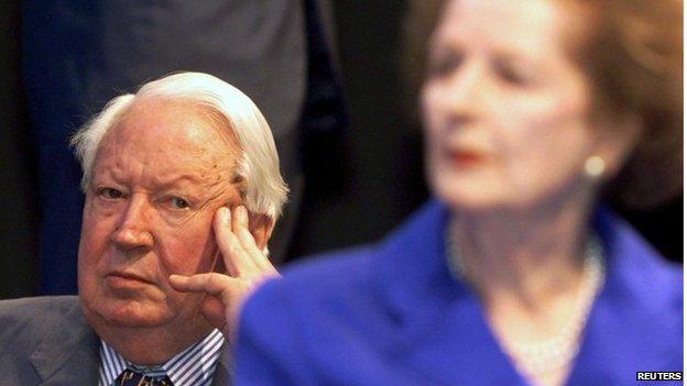 Sir Edward Heath and Margaret Thatcher