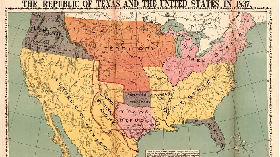 Mapa de Texas y Estados Unidos de 1837.