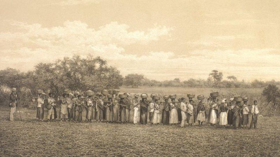 Pessoas escravizadas em fazenda no passado