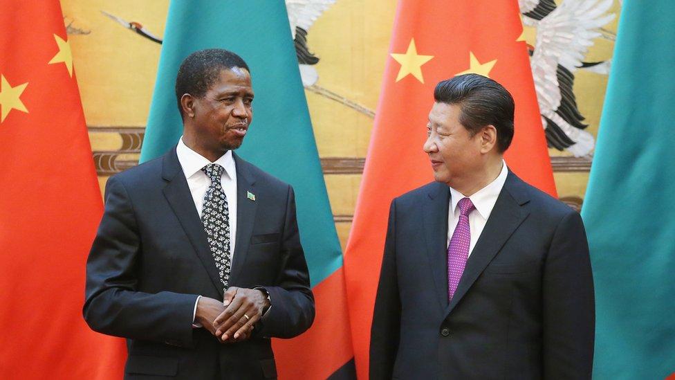Zambian President Edgar Lungu and Chinese President Xi Jinping
