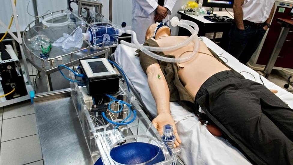 Una prueba de un proyecto de respirador artificial