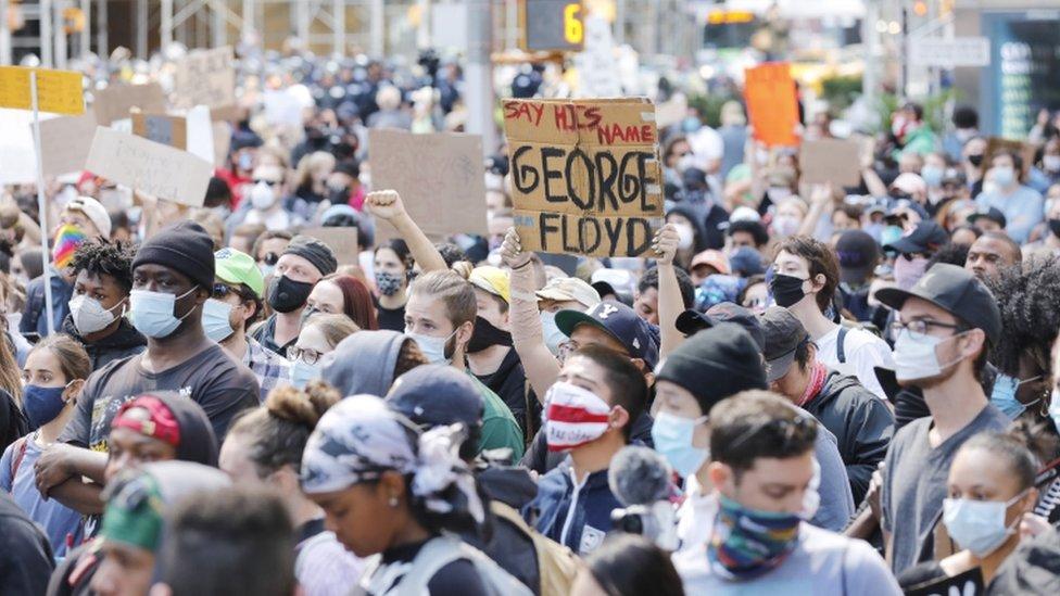 Protesta en Times Square, Nueva York.