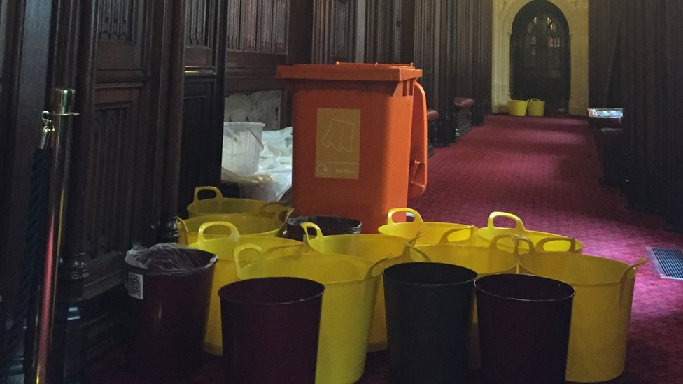 Buckets catch leaks in the peers' Not Content lobby