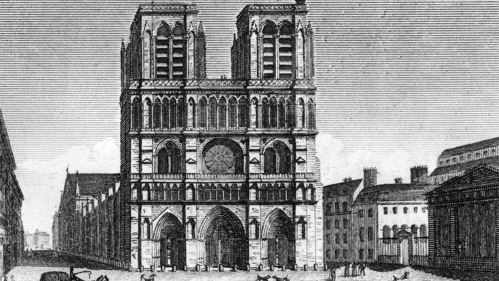 Ilustración de Notre Dame en 1822