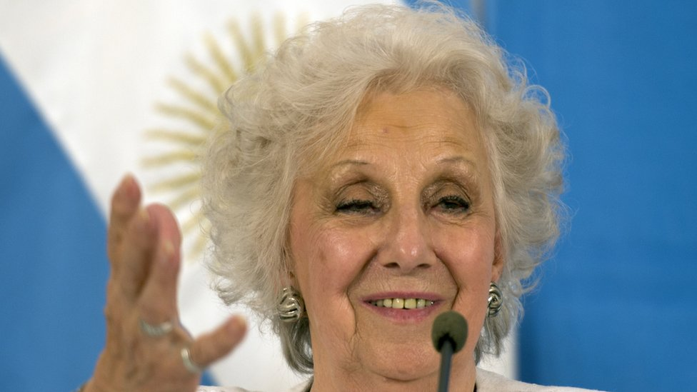 stela de Carlotto, head of the humans rights organization Abuelas de Plaza de MayoM speaks during a press conference after meeting with Argentina's President Mauricio Macri at the Quinta de Olivos government residence in the outskirts of Buenos Aires, on February, 23, 2016.