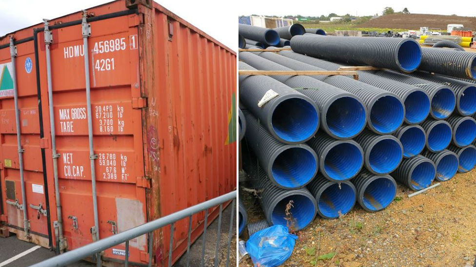 Storage unit and pipes