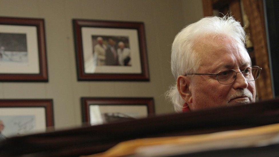 J Michael Cross in his office in Jamestown
