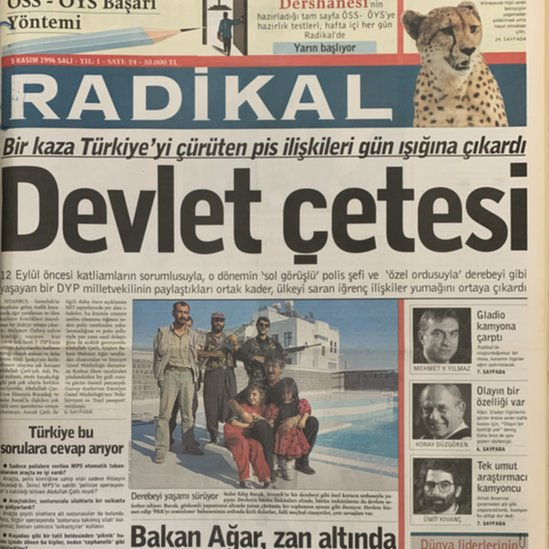 Radikal gazetesinin Susurluk kazası sonrasındaki manşetlerinden biri
