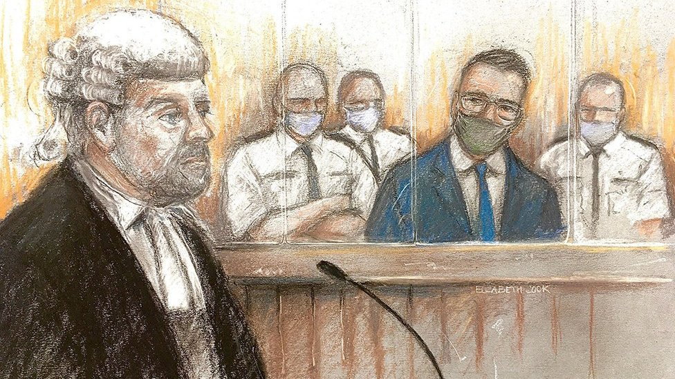 Artist sketch of prosecutor Richard Wright and defendant Pawel Relowicz who is flanked by court security guards
