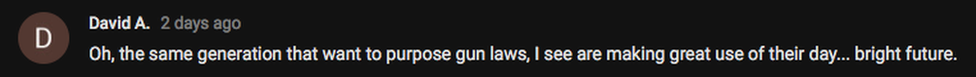 "Screenshoot of comment: ""Oh, the same generation that wants to propose gun laws, I see are making great use of their day..."