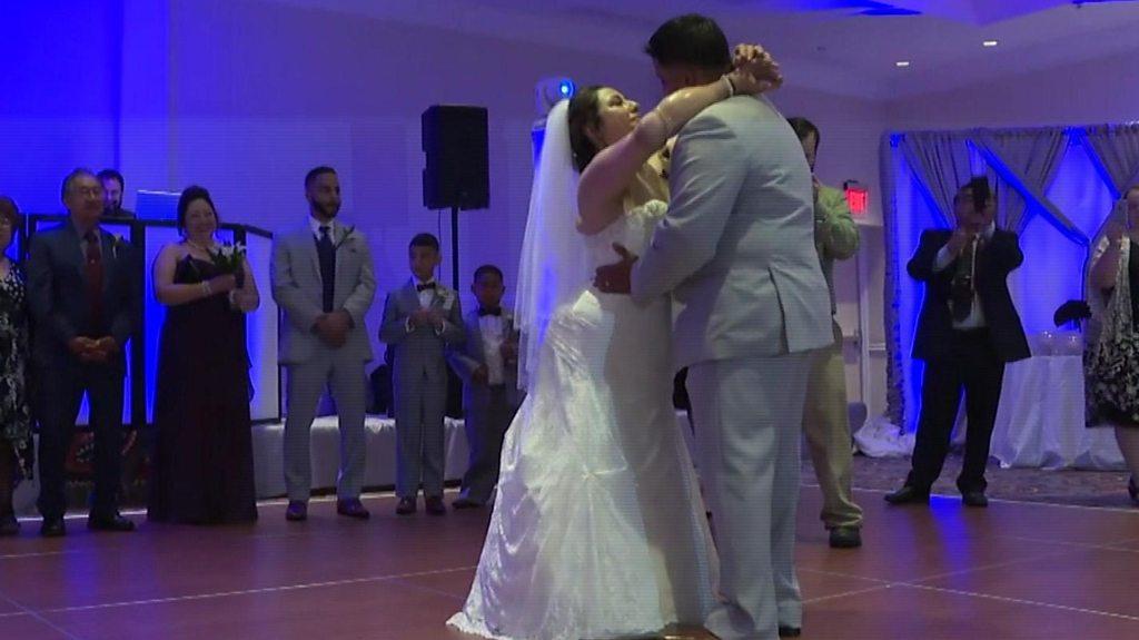 Amputee bride walks down the aisle