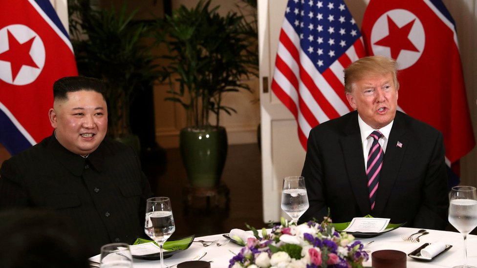 President Trump and Kim Jong-un sit down for a dinner during their summit, at the Metropole Hotel in Hanoi, Vietnam, February 27, 2019