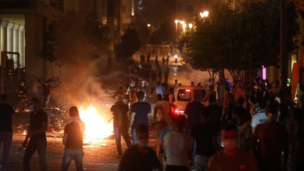 Protestas en Beirut.