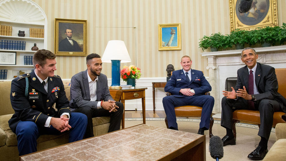 The US heroes with President Obama
