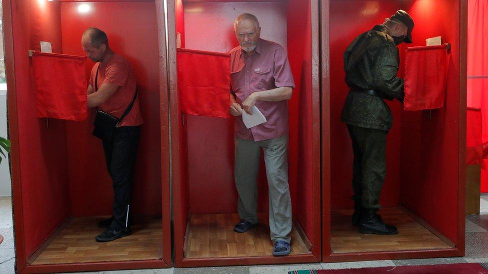 Voters in Minsk, Belarus (9 August)