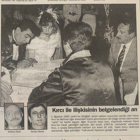 Milliyet gazetesinin Kırcı'nın nikahına da değinen, Ağar'la ilgili bir haberi