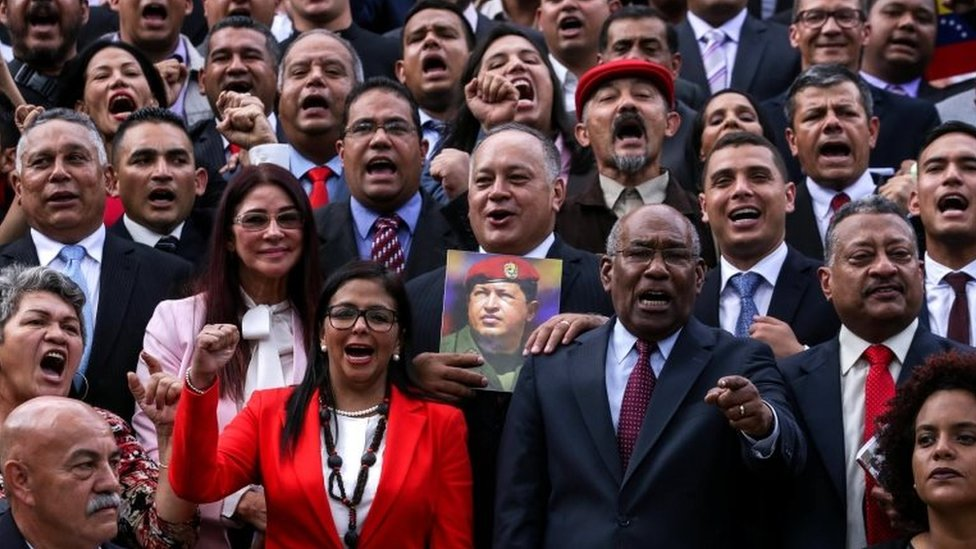 Representatives elected to the National Constituent Assembly pose for the official photo, in Caracas, Venezuela, 04 August 201