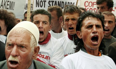 Pro-independence protesters in Kosovo