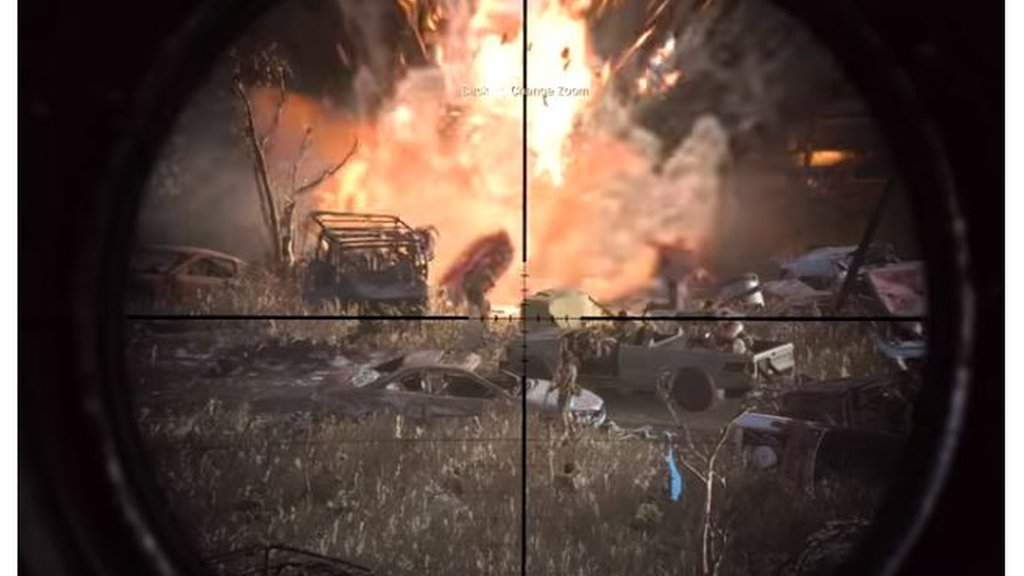 A scene from the Highway of Death mission in Call of Duty; Modern Warfare