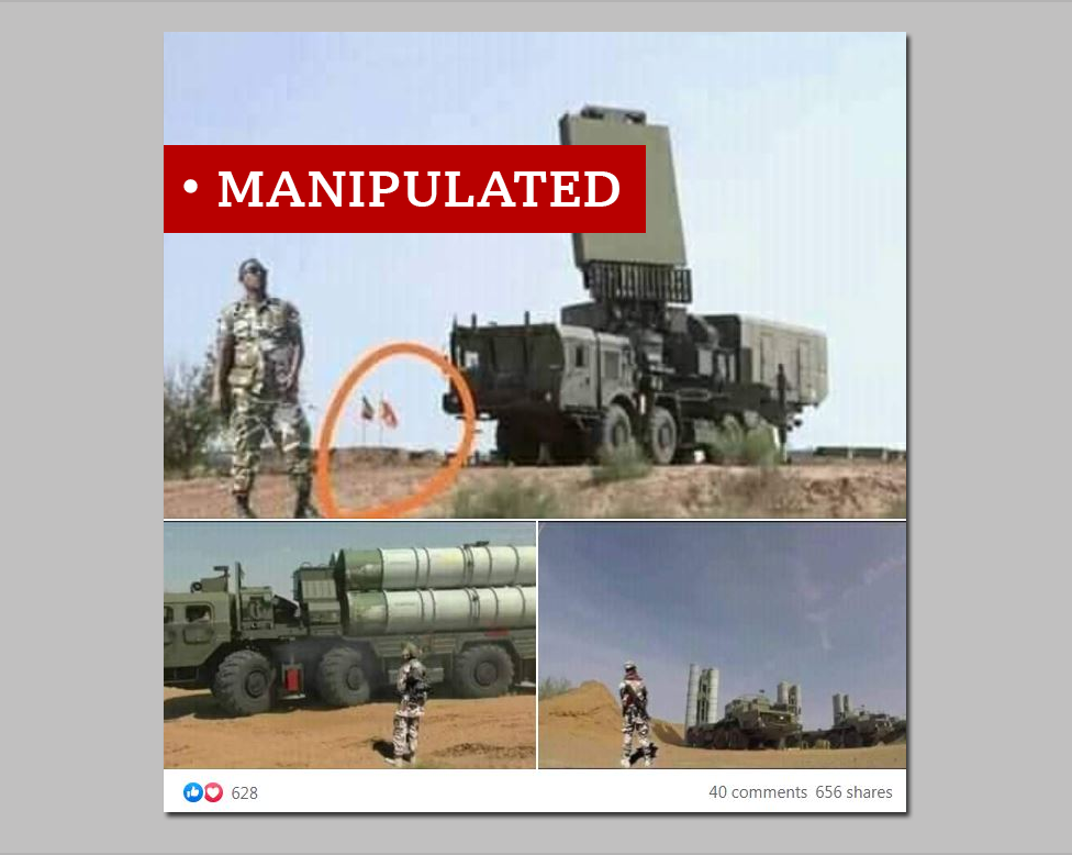 A screen grab of a Russian missile system labelled Manipulated