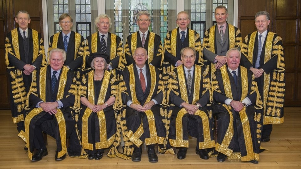 The 11 Supreme Court justices (pictured with Lord Toulson - top row, far left - who is now retired) rejected the government's argument by eight to three