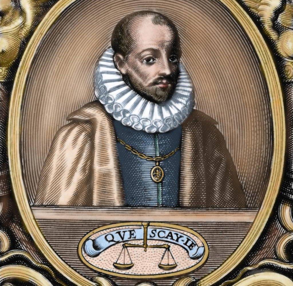 """Michel de Montaigne, con su lema """"Qué sé yo"""" y una balanza mostrando que cualquier argumento tenía el mismo peso."""