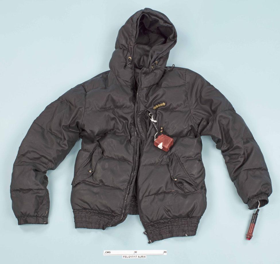 Jacket filled with fake explosives