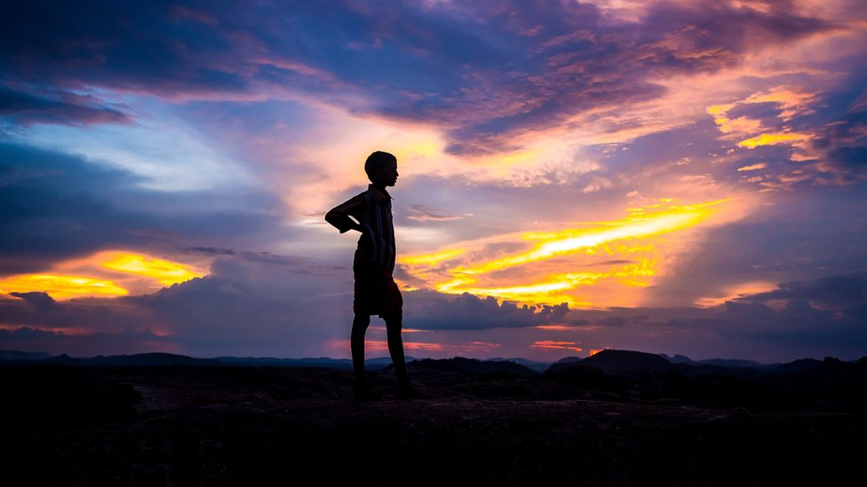 Silhouette of a child in India