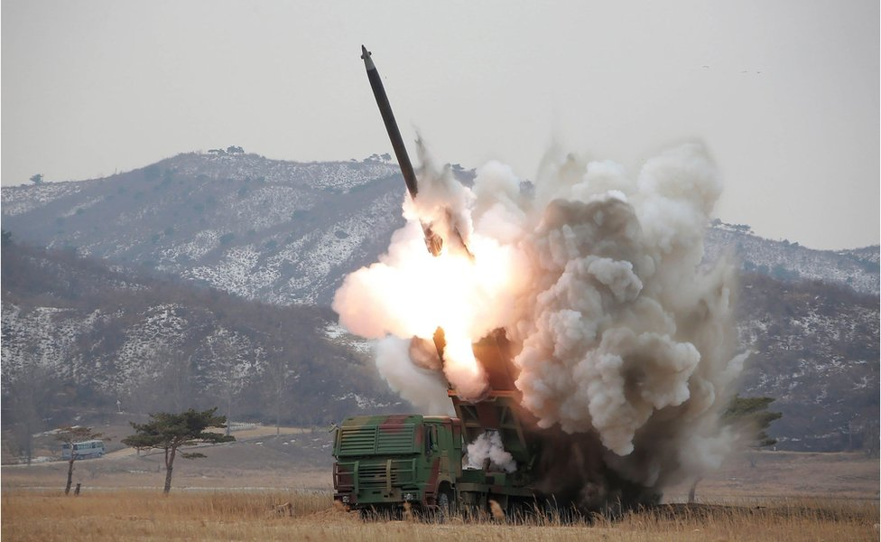 A test-fire of a new large-calibre rocket last week