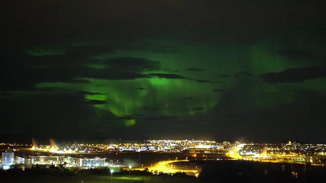 Saever Helgi Bragason captured the Northern Lights display over Reykjavik earlier this week