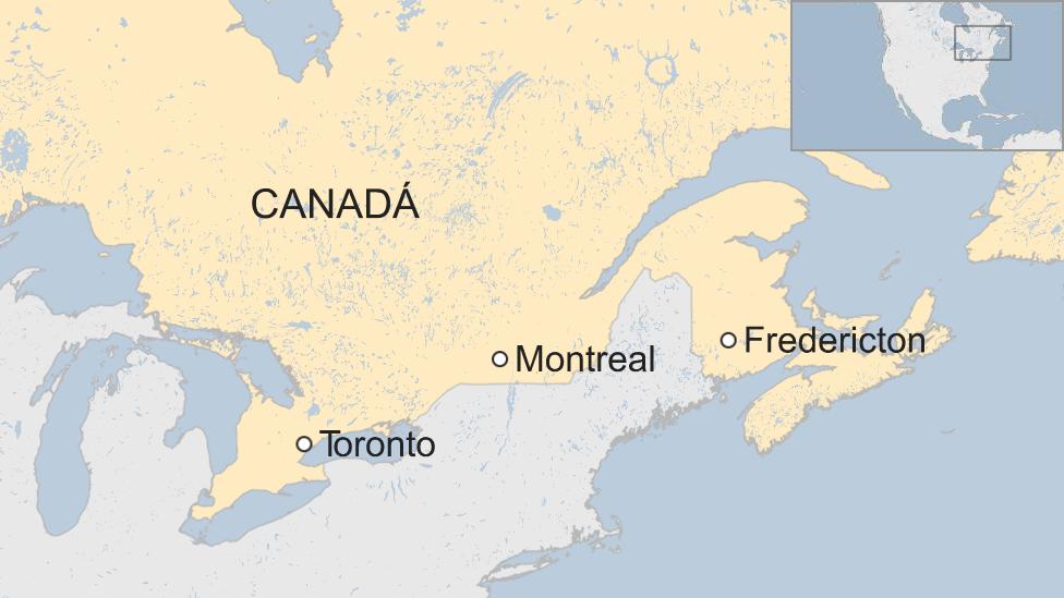 Mapa de Canadá y de la ciudad de Fredericton.