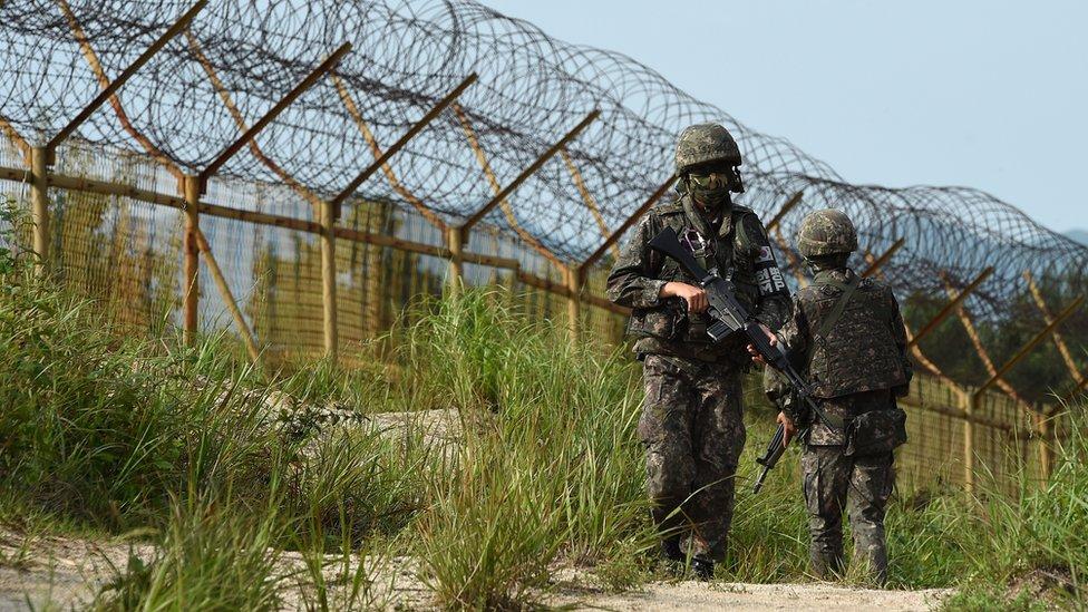 Južnokorejski vojnici na granici sa severom