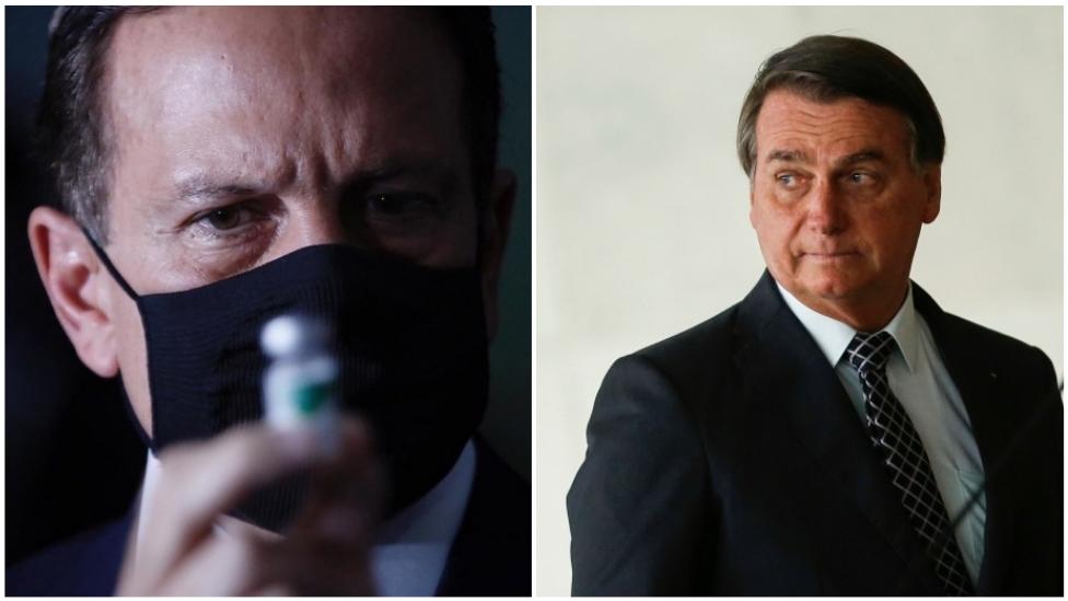 Colagem de fotos de Doria e Bolsonaro