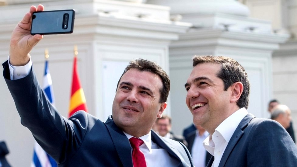 North Macedonian Prime Minister Zoran Zaev (L) makes a selfie with his Greek counterpart Alexis Tsipras prior to their meeting in Skopje on April 2, 2019.