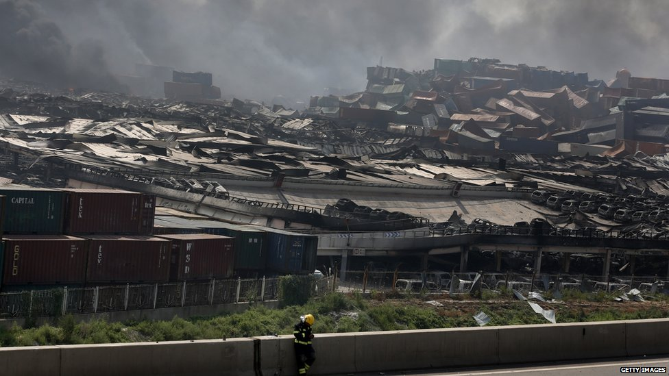 Wreckage after two massive explosions in Tianjin