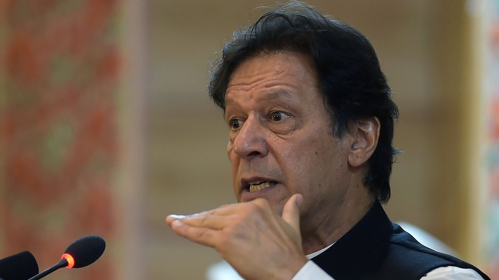 Imran Khan is pictured in close-up mid-speech