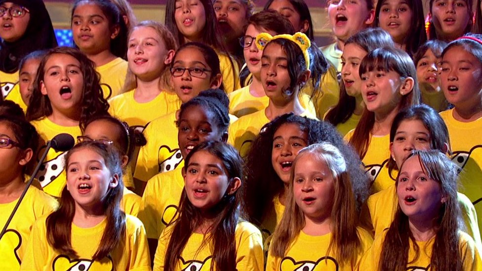 Children's choirs from all across the UK sang in unison