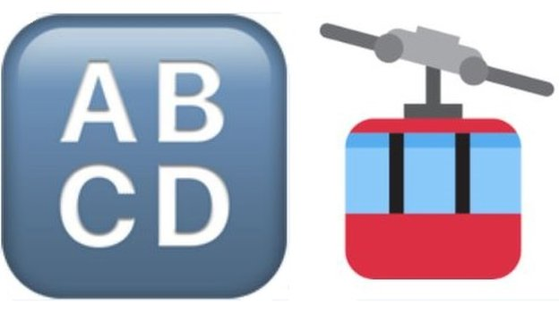 """Emojis for """"Input symbol"""" - a block of the letters ABCD - and """"aerial tramway"""" - a pictogram of a cable car"""