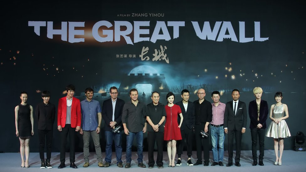 """The cast and director attend a press conference for their new movie """"The Great Wall"""" in Beijing, china, 2 July 2015"""