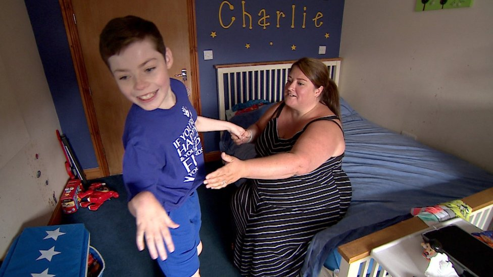 Joanne Peacock and son Charlie