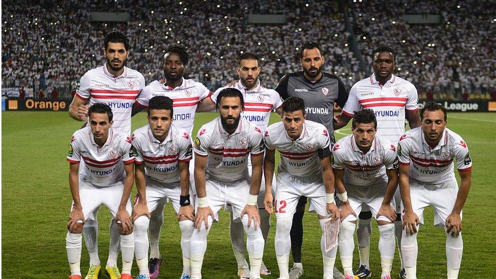 Egypt's Zamalek football club posing for a team photo